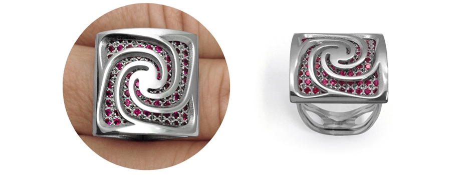 Alma Gems. White gold y red gems. Spira.