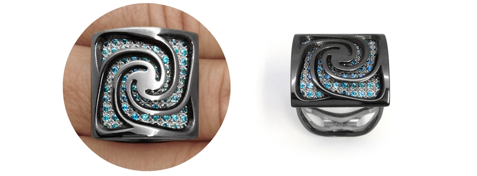 Alma Gems. Black gold and blue gems. Spira.