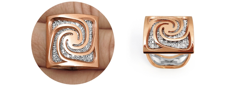 Alma Gems. Rose gold y white gema. Spira.