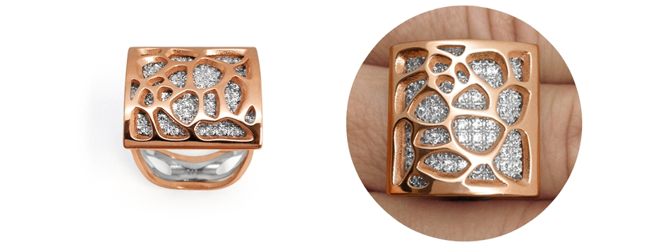 Alma Gems. Rose gold y white gema. Natura.